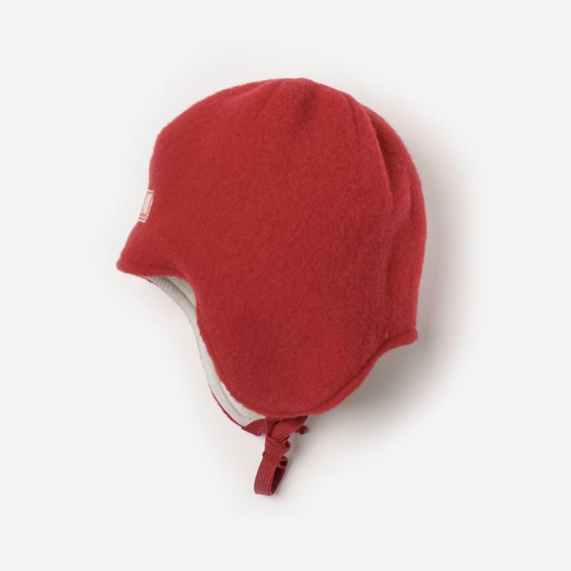 Kinder Mütze zum Binden Jack Wollfleece von Pickapooh in rot mélange