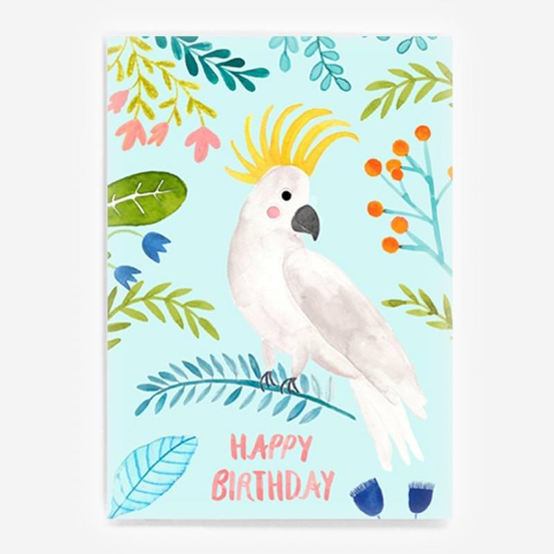 """Postkarte """"Happy Birthday"""" (Kakadu)"""