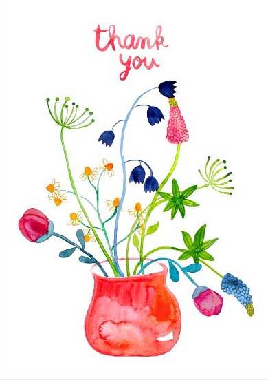 "Postkarte ""Thank You"" - Blumenstrauß"