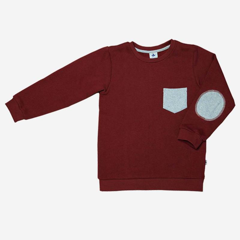 Sweatshirt ziegelrot mit Aufnähern