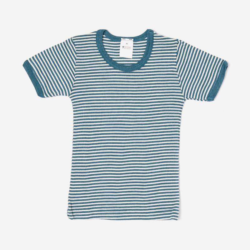Unterhemd Kurzarm von Lilano aus Wolle/Seide blau ringel 1