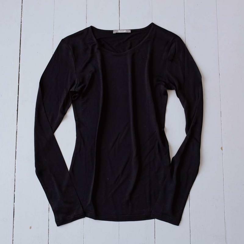 Langarmhemd Bouretteseide schwarz