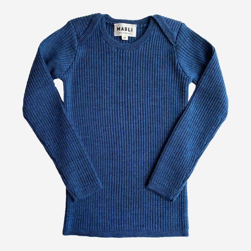 Pullover Skinny Rib Merinowolle slate blue