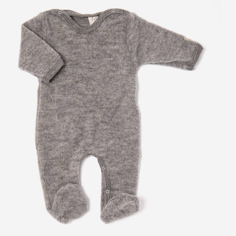 Strampelanzug mit Fuß von Lilano aus Wollfrottee in grau