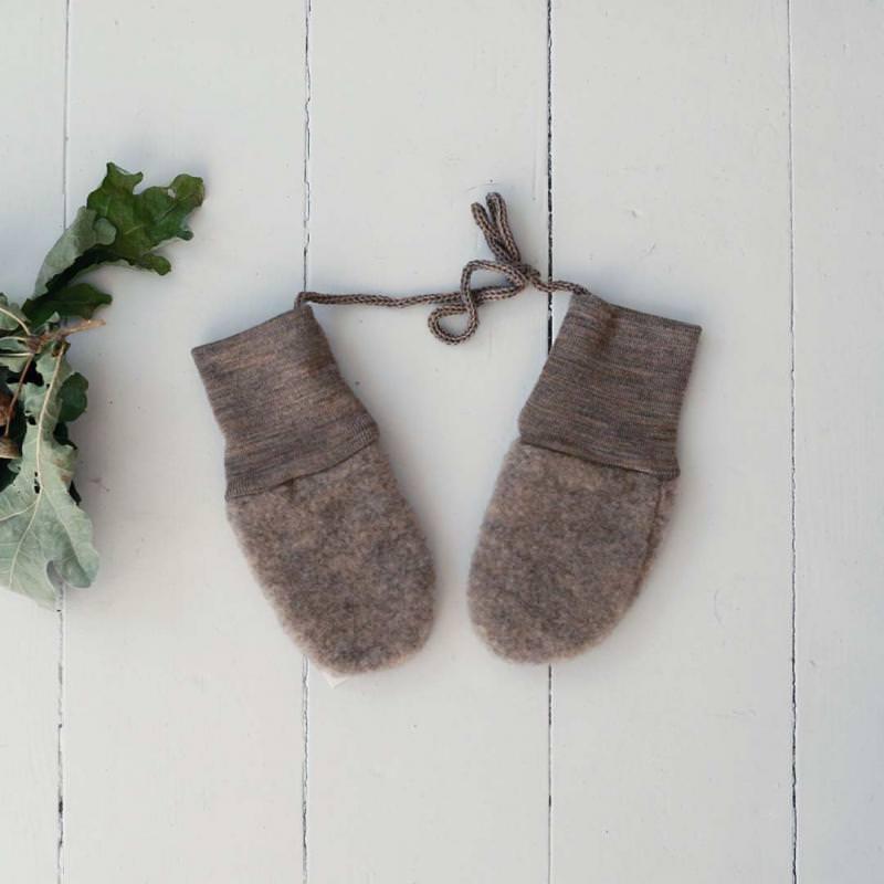 Baby Fleece Handschuhe Merinowolle walnuss