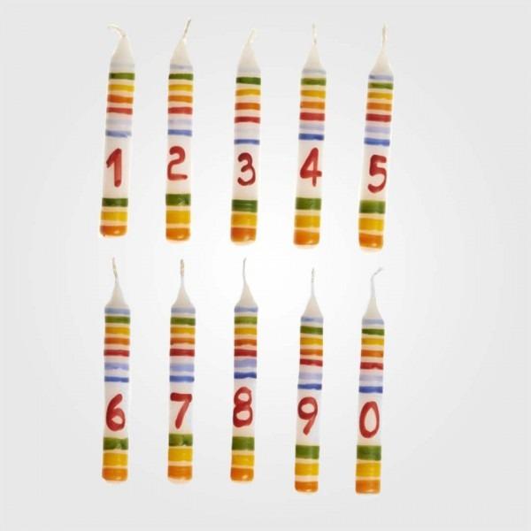 Geburtstagskerze mit Zahl 1, 2, 3, 4, 5, 6, 7, 8, 9, 0
