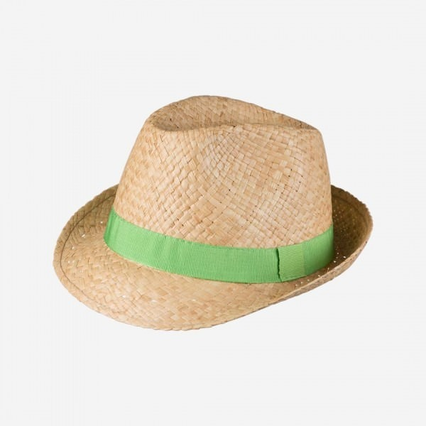 Strohhut mit grünem Band