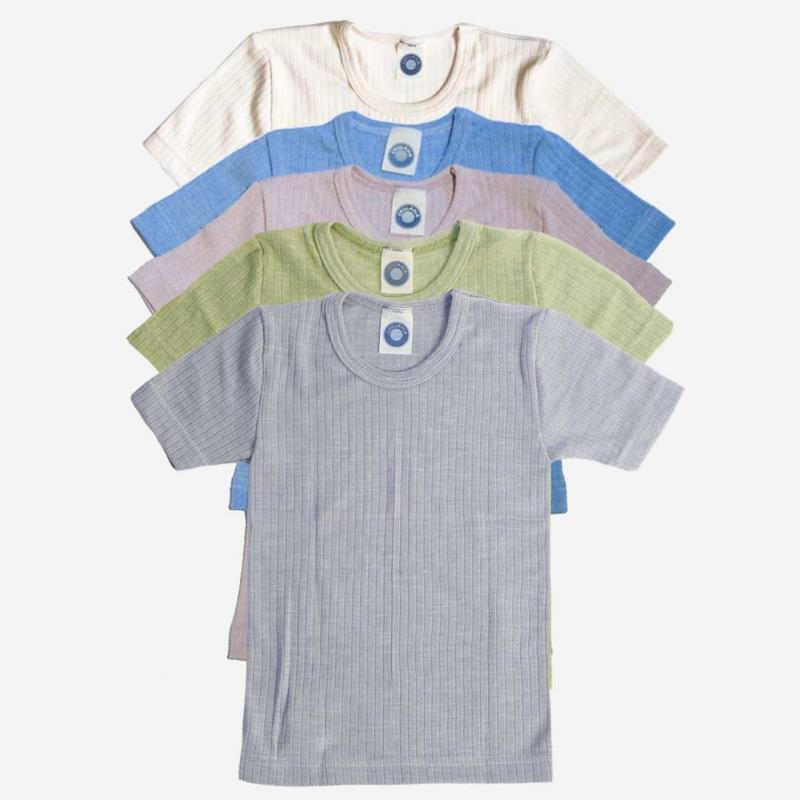 Unterhemd kurzarm Baumwolle/Wolle/Seide