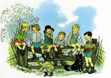 Postkarte Bullerbü Frühling