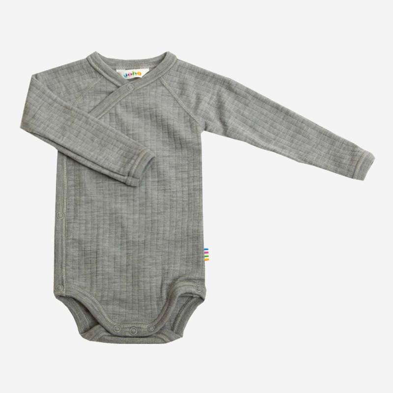Baby Wickelbody von Joha aus Merinowolle in grau