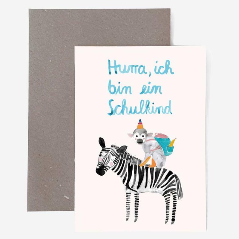 """Grußkarte mit Umschlag """"Schulkind"""" Zebra"""