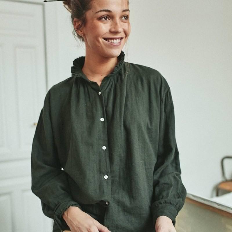 Damen Bluse ROSIER von Poudre Organic aus Bio-Baumwolle in forest green
