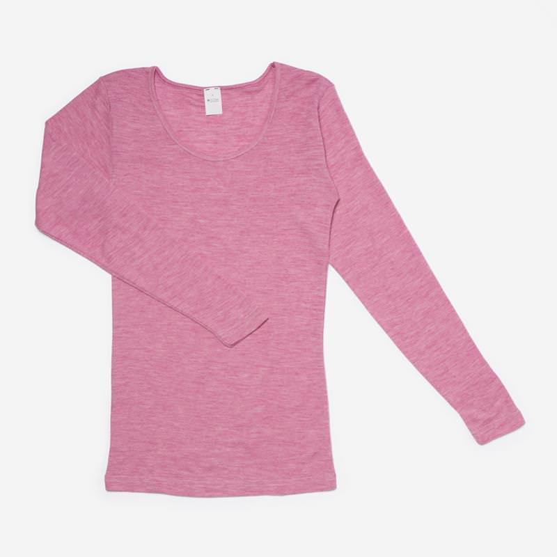 Damen Unterhemd Wolle/Seide beere meliert
