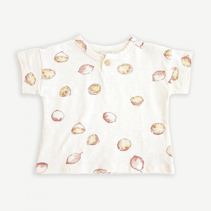 Baby T-Shirt mit Zitronen dandelion weiß
