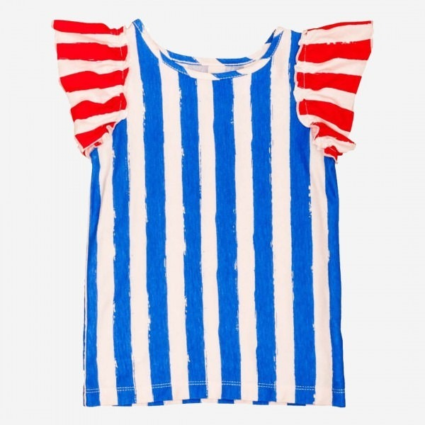 Ruffle T-Shirt blue stripe