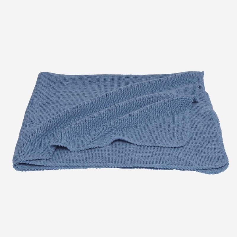 Babydecke Wolle hellblau