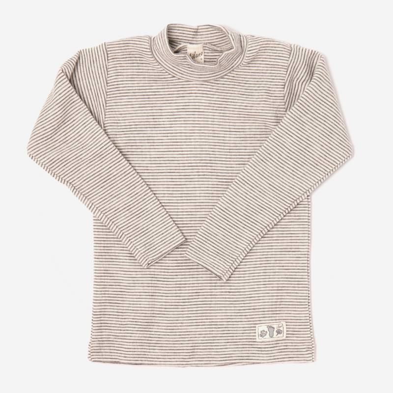 Kinder Shirt Ringel Stehkragen Wolle/Seide von Lilano in hellgrau 1