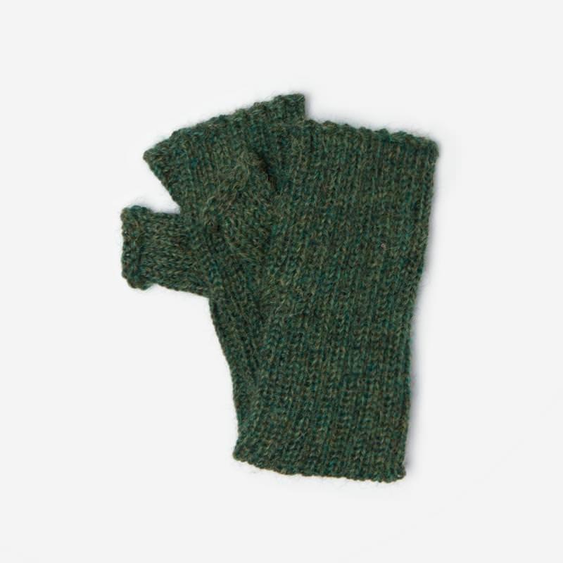 Kinder-Handstulpe Alpaka dunkelgrün meliert