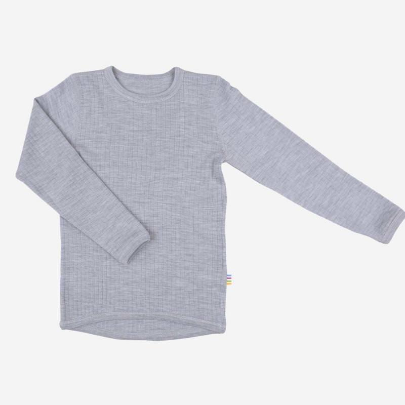 Shirt langarm Merinowolle grau