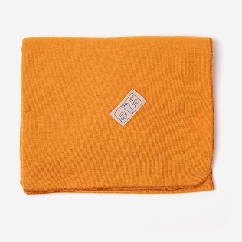 Babydecke unifarben von Lilano aus Wolle/Seide curry
