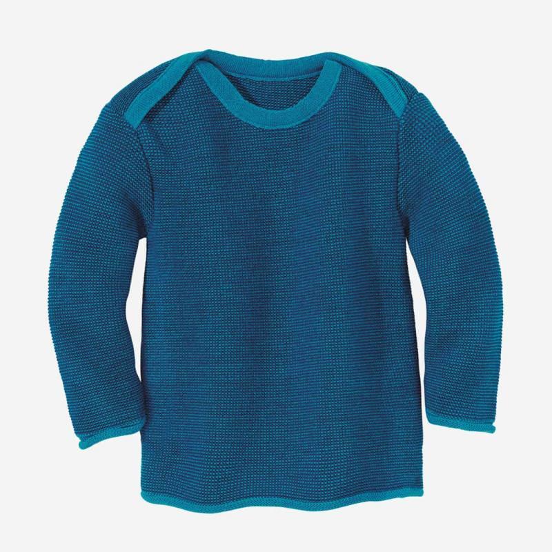 Melange-Pullover Wolle blau-navy
