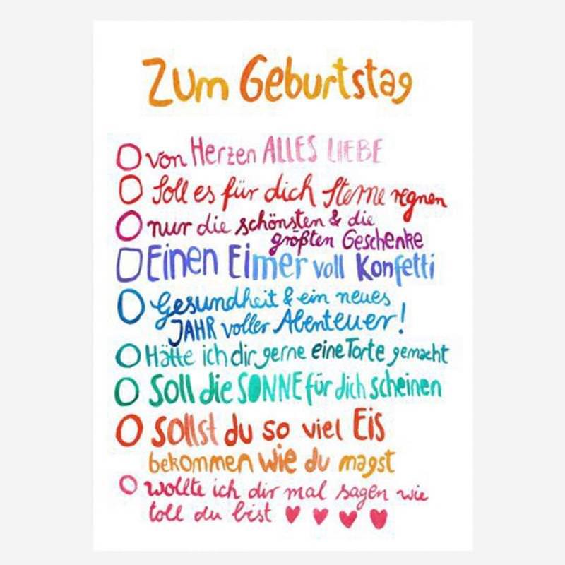 """Postkarte """"Zum Geburtstag"""" (Wünsche)"""