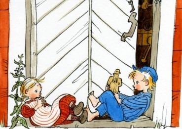 Postkarte Michel und Ida an der Tür