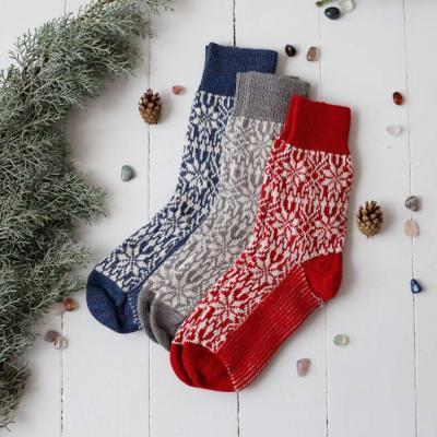Norweger Socke Wolle rot/natur 44-46