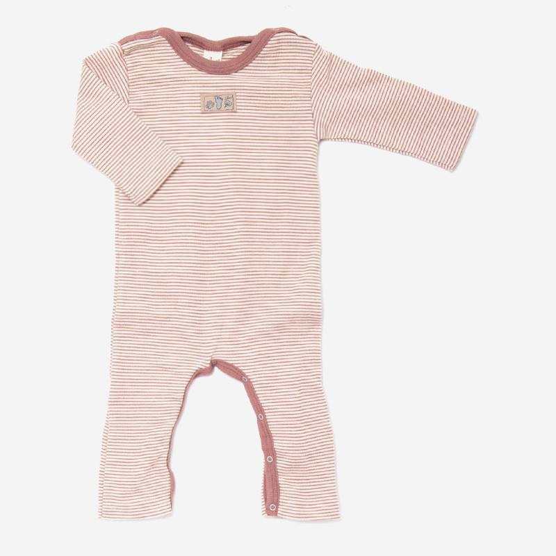 Anzug mit Beinumschlag Wolle/Seide Ringel mauve