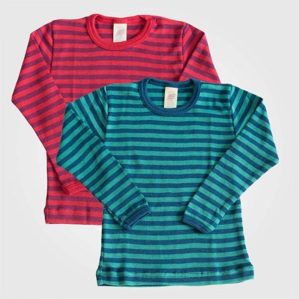 Unterhemd gestreift Wolle/Seide