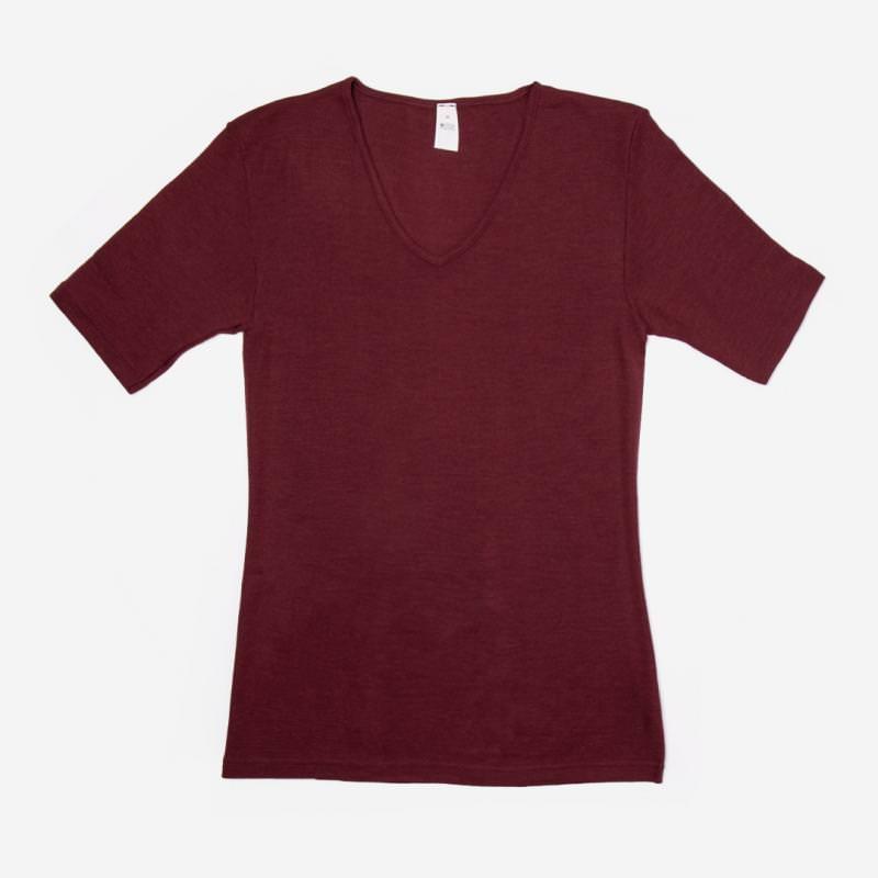 Damen Unterhemd V-Ausschnitt kurzarm Wolle/Seide bordeaux