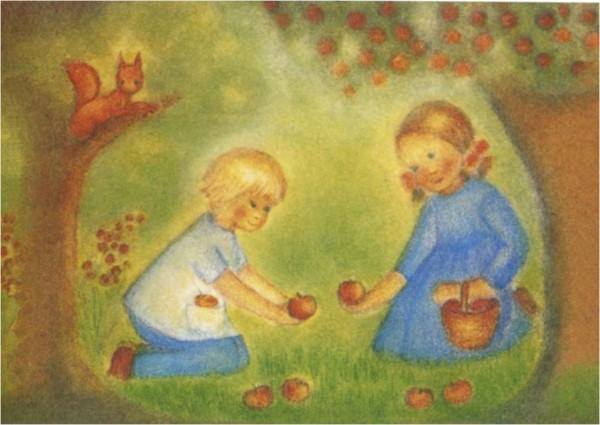 Postkarte Apfelernte (Elsässer)