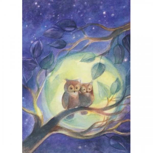 Postkarte Eulen im Mondschein