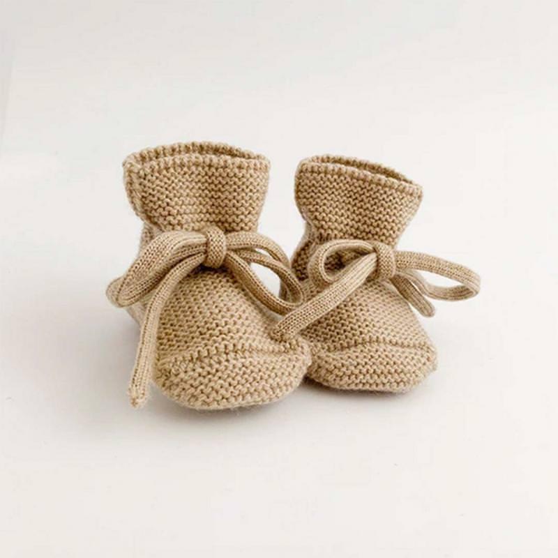 Babyschühchen BOOTIES Merinowolle sand
