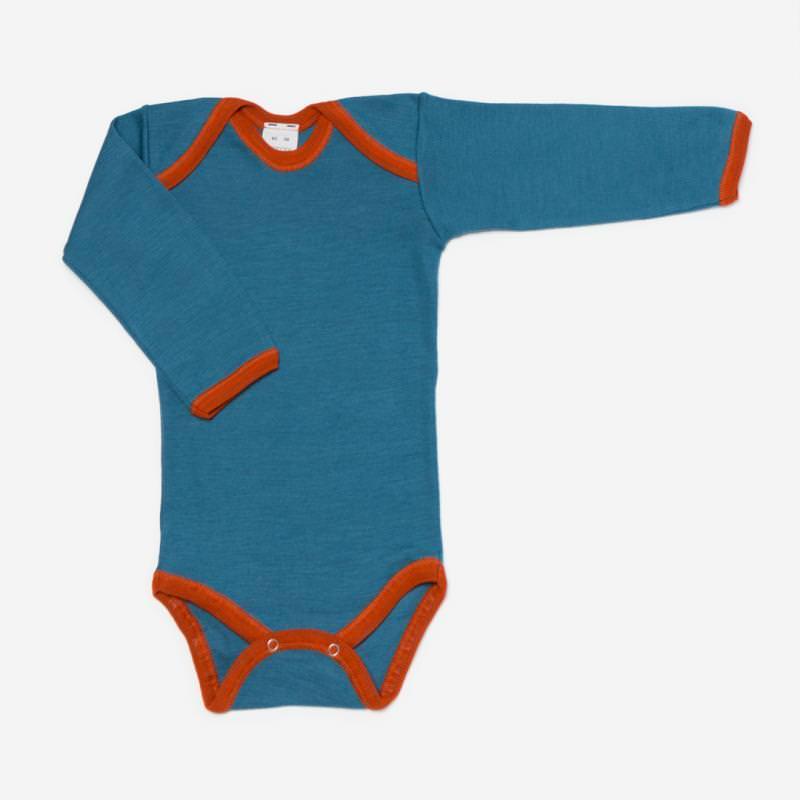 Body Wolle/Seide Kontrastbund meerblau