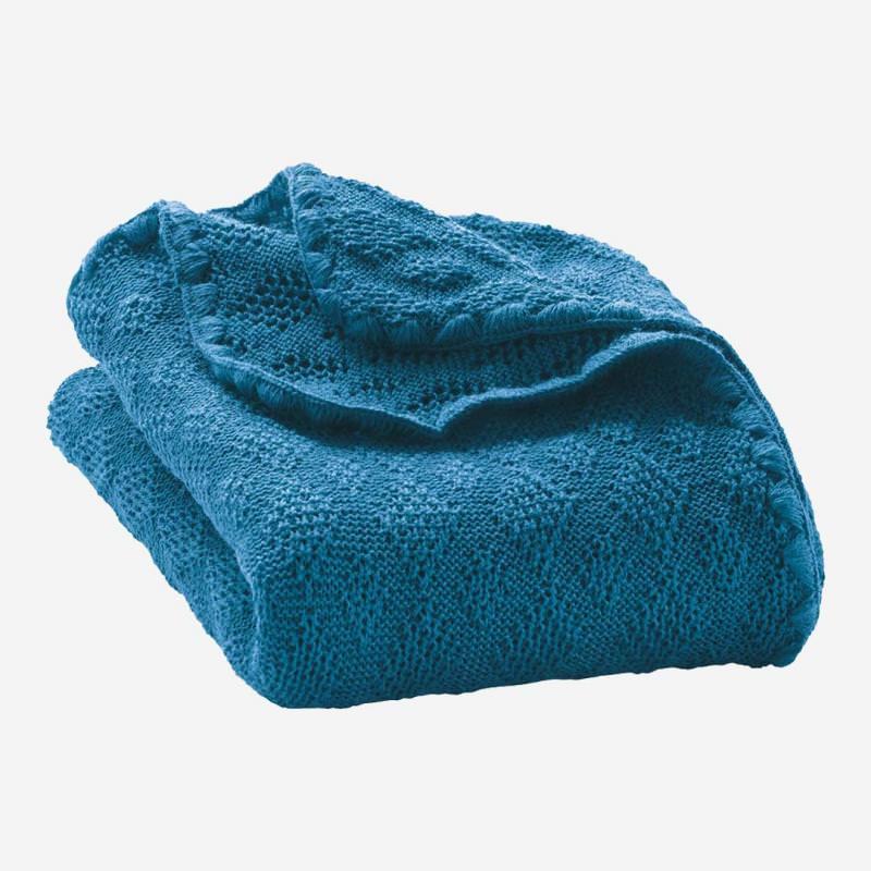 Babydecke Strickmuster Wolle blau