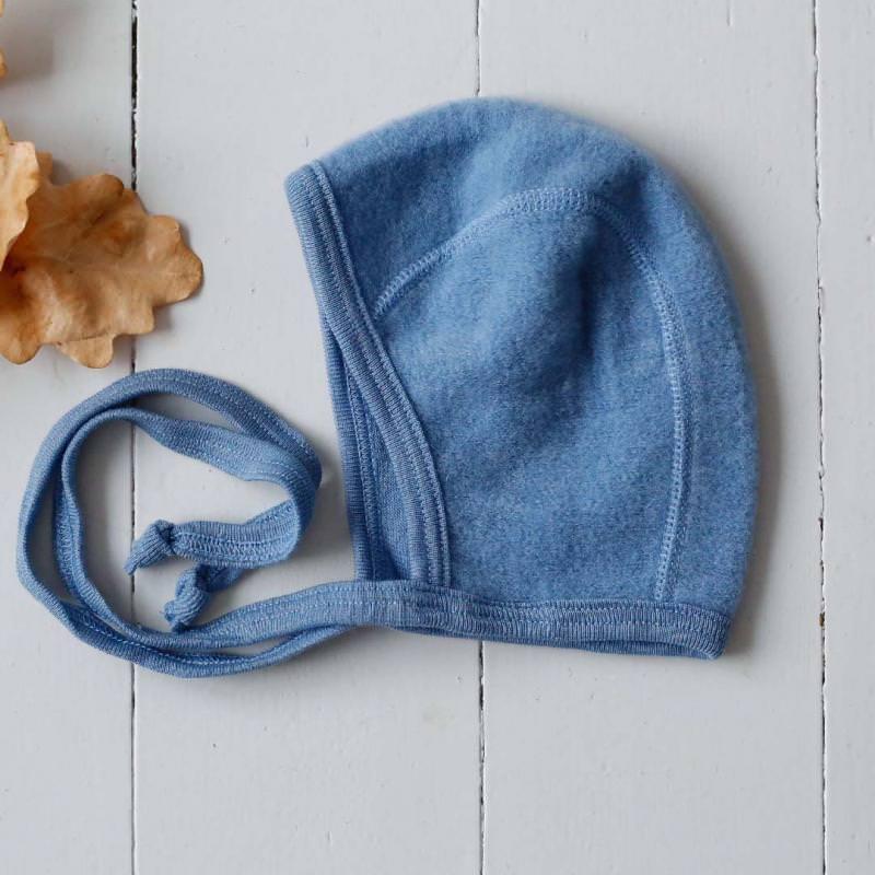 Babyhäubchen Wollfrottee Uni bleu