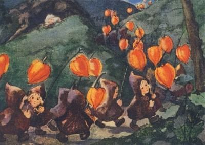 Postkarte Laternen Kinder Umzug