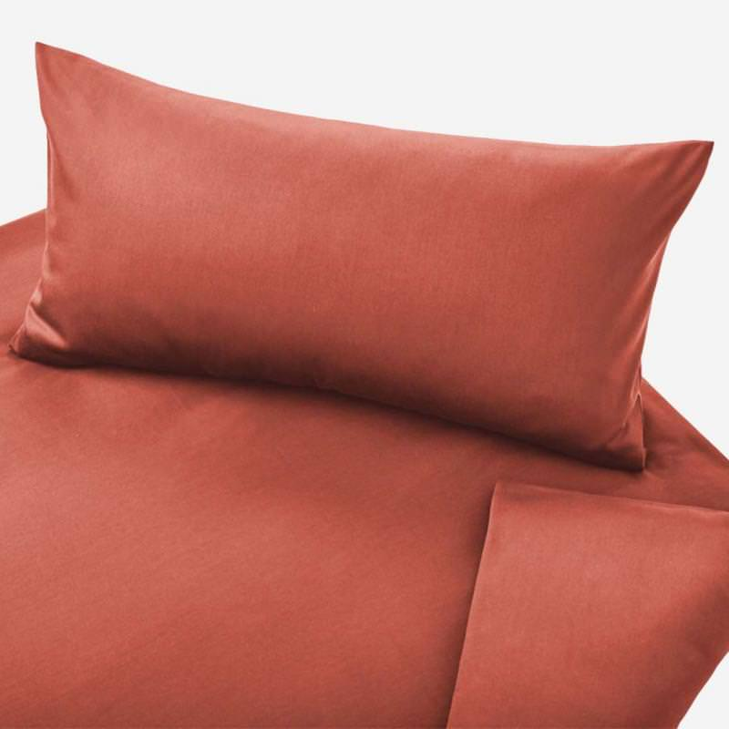 Kinder Bettwäsche Satin von Cotonea aus Bio-Baumwolle in der Farbe ziegel