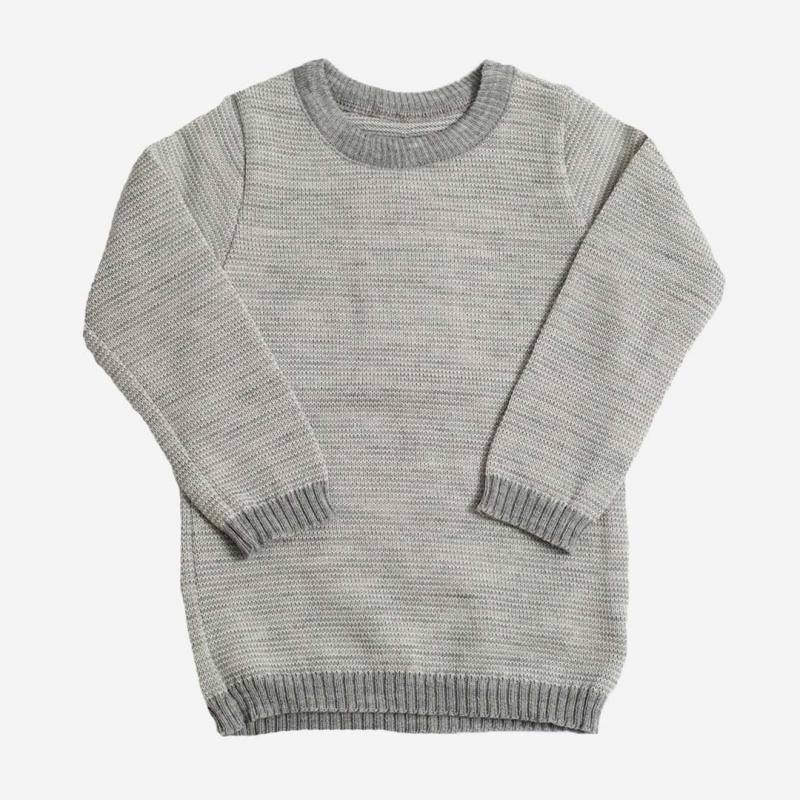 Basic Pullover Melange grau-natur