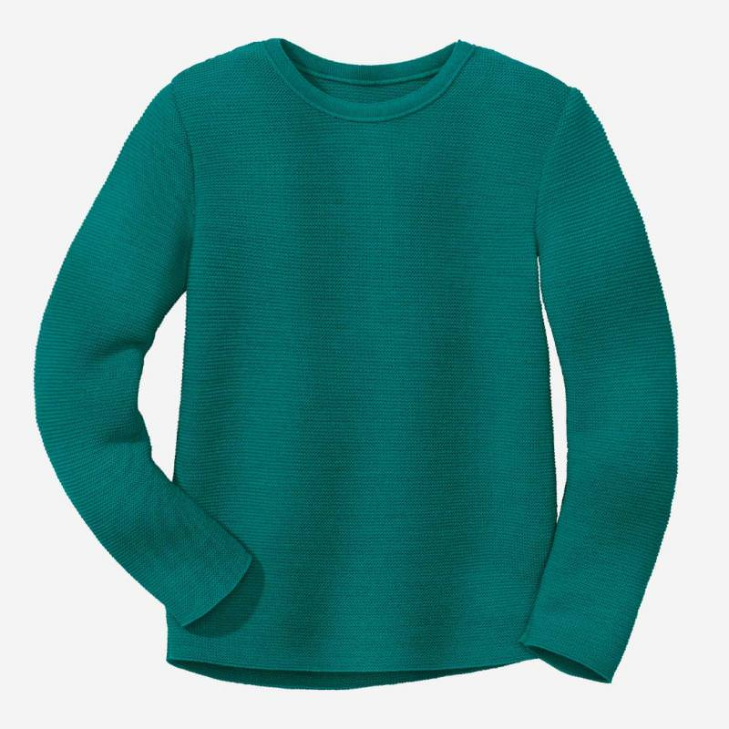 Kinder Linksstrick-Pullover von Disana aus Wolle in pacific