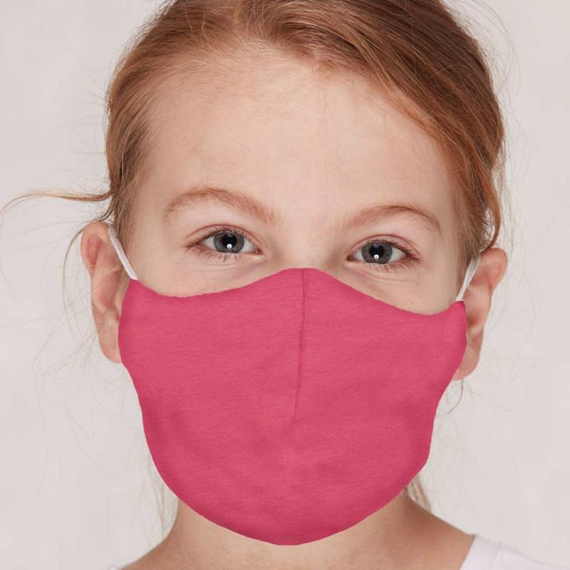 Kinder Mund- und Nasenmaske uni azalea