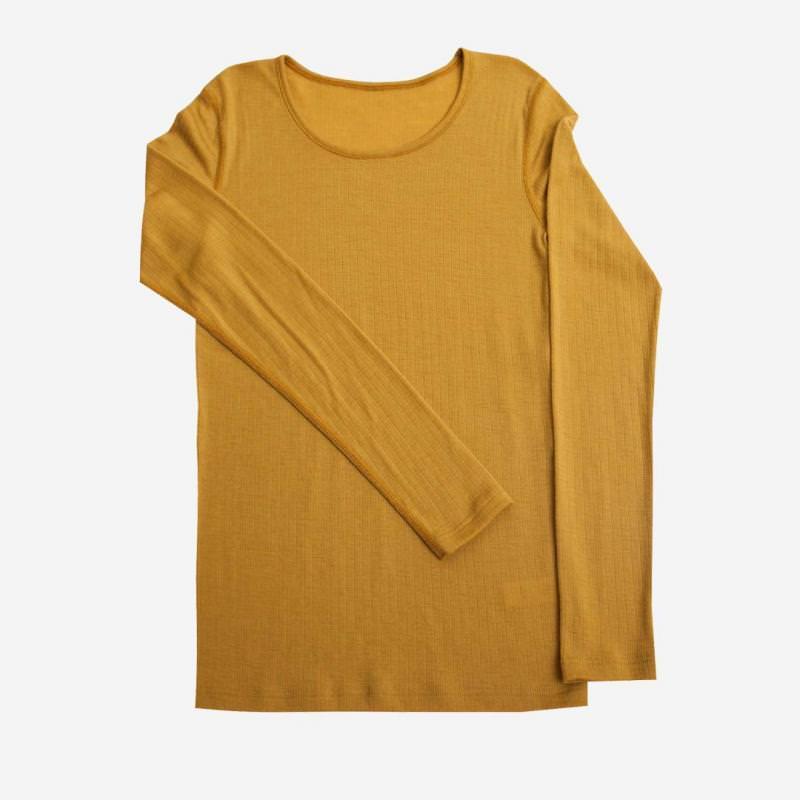 Damen Shirt Merinowolle curry gelb