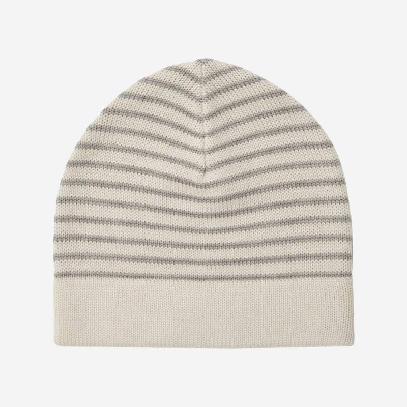 Mütze striped Wolle ecru/light grey