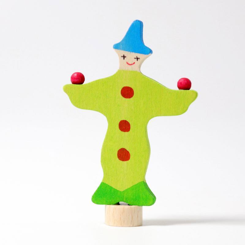 grimms figurenstecker holz geburtstagsring clown harlekin grün jonglierend