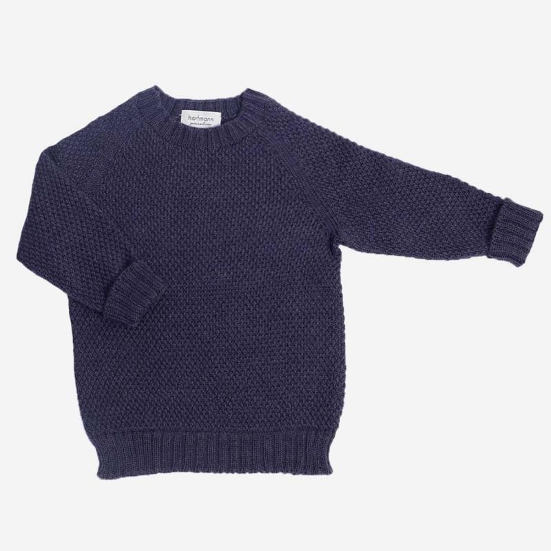 Pullover Strickmuster Wolle blau melange