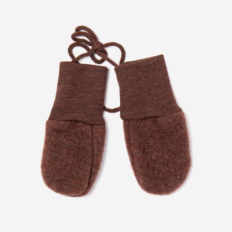 Baby Handschuhe Wollfleece von Engel in zimt melange