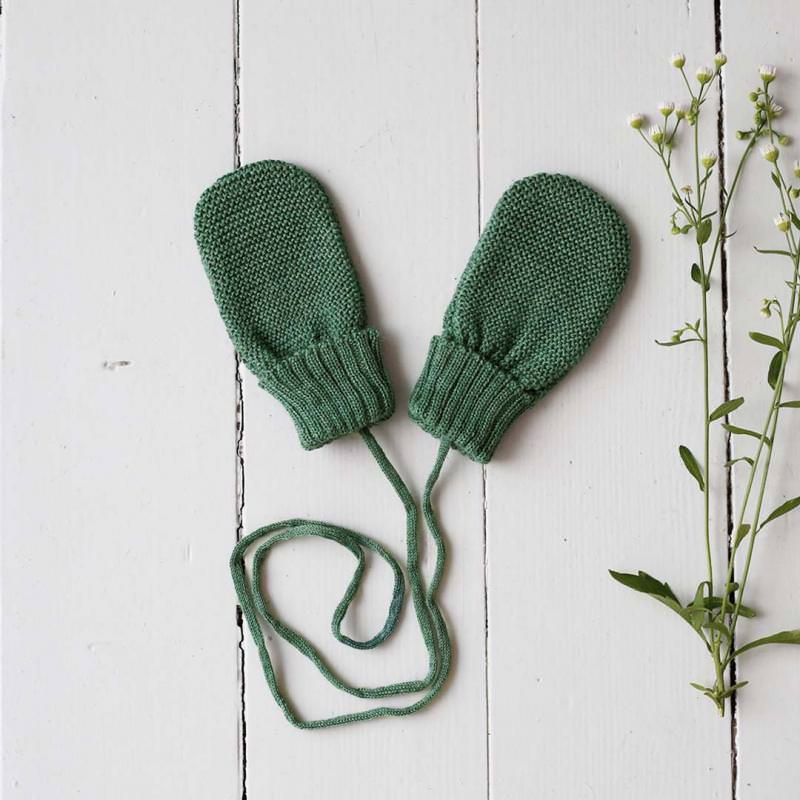 Baby Handschuhe Wolle dusty green