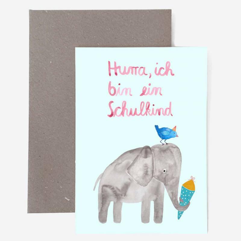 """Grußkarte mit Umschlag """"Schulkind"""" Elefant"""