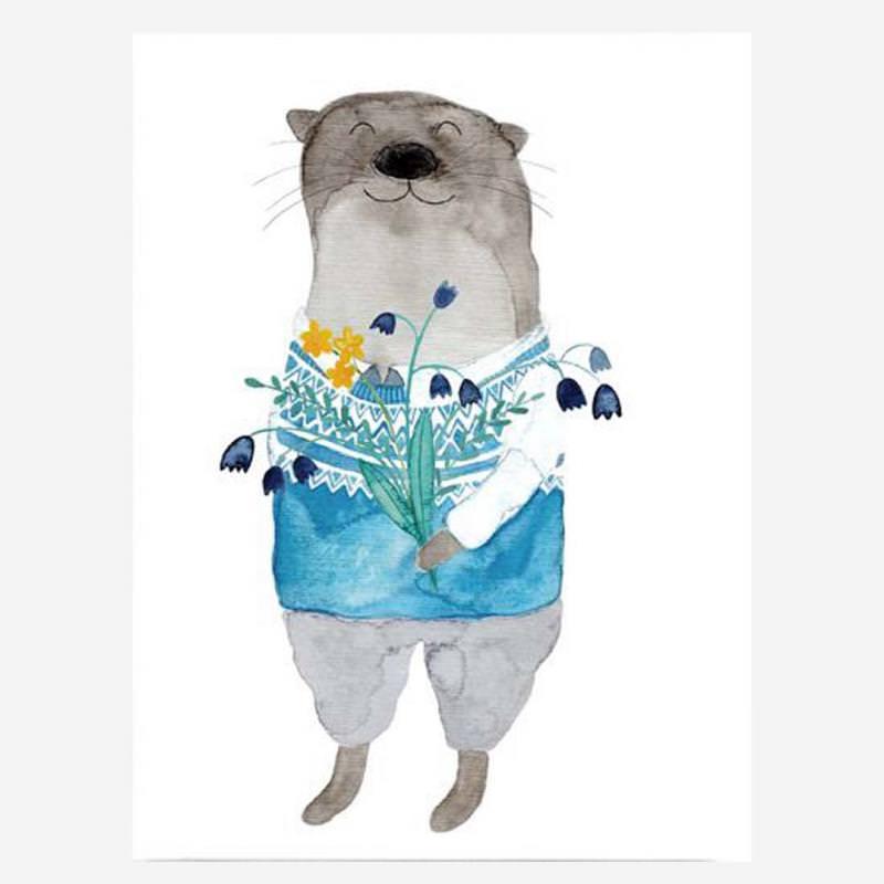 Postkarte Otter